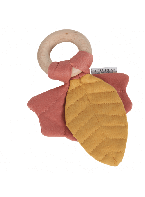 Červené listy na drevenom krúžku, hryzátko hračka pre bábätko - kolekcia Pure&Nature