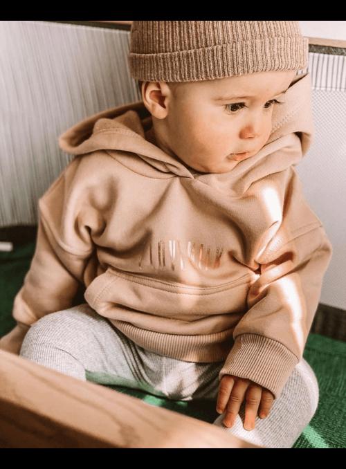 Dětská mikina s kapucí, béžová