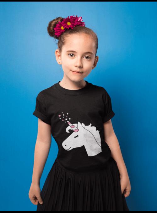 LIMITKA Detské zábavné iluminačné tričko čierne JEDNOROŽEC +laser pero, 3-4 roky