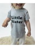 Tričko LITTLE SISTER šedé - 0-3 mes