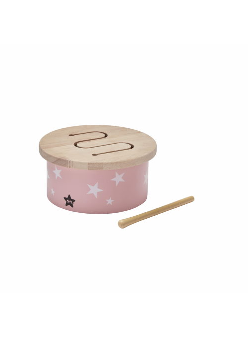 Detský mini drevený bubon, ružový