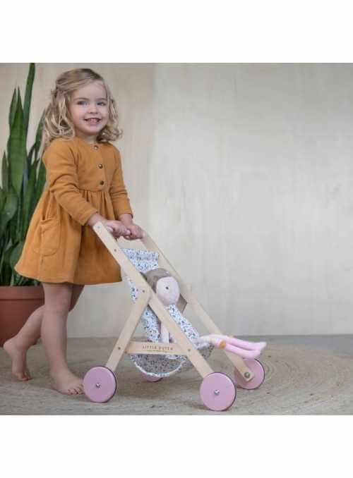 Detský drevený kočík pre bábiky
