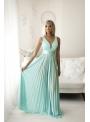Maxi tyrkysové plisované šaty - S