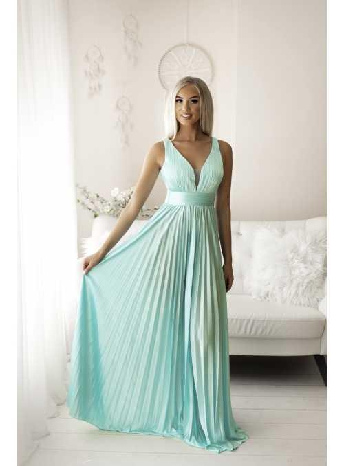 Maxi tyrkysové plisované šaty