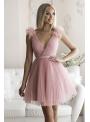 Olivia - mini šaty, pudrovo ružové - M