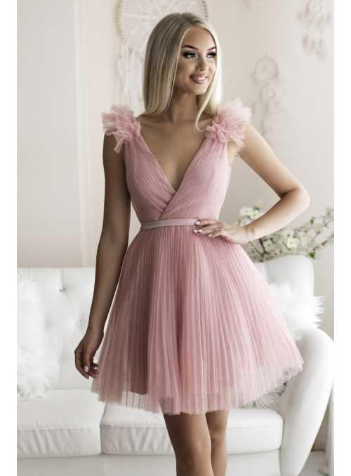 Olivia - mini šaty, pudrovo ružové