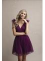 Olivia - mini šaty, baklažánové