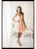 Amelia - mini šaty s perličkami, broskyňové