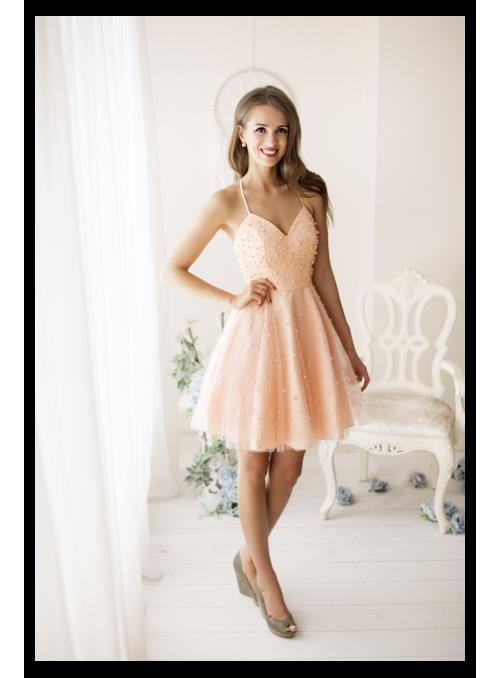 Amelia - mini šaty s perličkami, broskvové