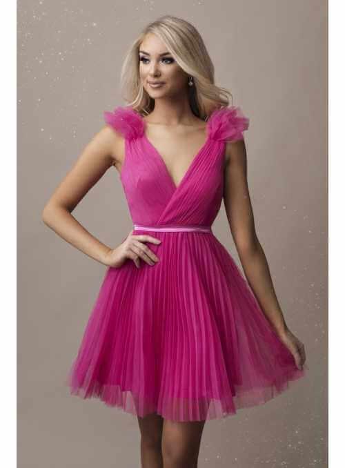 Olivia - mini šaty, fuchsiové