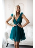 Olivia - mini šaty, smaragdové - L