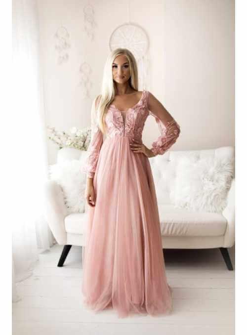 Autumn - maxi šaty, ružové - S