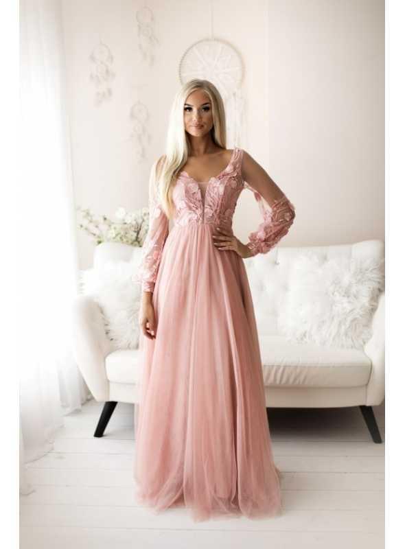 Autumn - maxi šaty, ružové