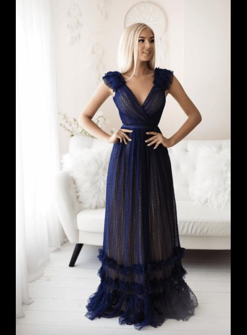Skylar - maxi šaty, tmavomodré