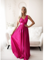 Maxi fuchsiové plisované šaty - S