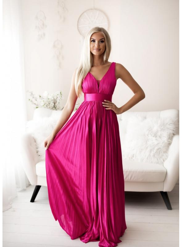 Maxi fuchsiové plisované šaty