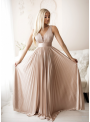 Maxi pudrovoružové plisované šaty