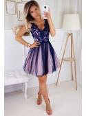 Bella via - mini šaty s čipkou a padavou sukňou tmavomodré+ružová spodnička
