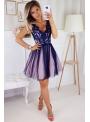 Bella via - mini šaty s čipkou a padavou sukňou, fialové - XS