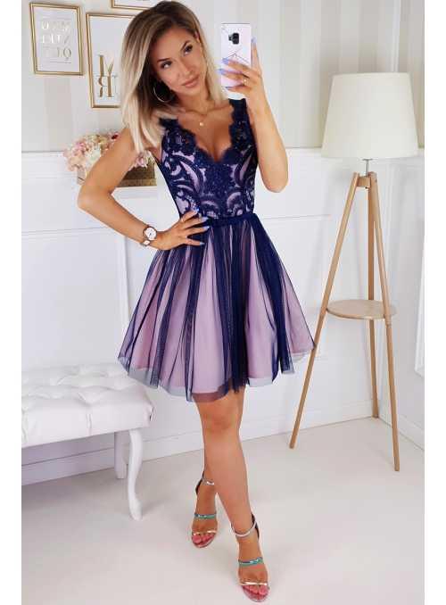 Bella via - mini šaty s krajkou a padavou sukní tmavomodrá+růžová spodnička