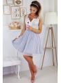 Bella via - mini šaty s čipkou a padavou sukňou, nebíčkové