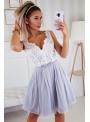 Bella via - mini šaty s čipkou a padavou sukňou, nebíčkové - XS