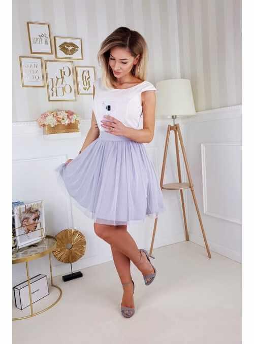Amia - mini padavé šaty s mašľou, nebíčkové