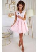 Selena - mini šaty s mašlí, růžové