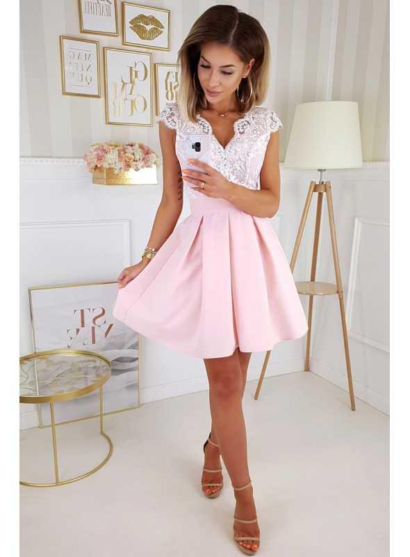 Selena - mini šaty s mašľou, ružové - XS