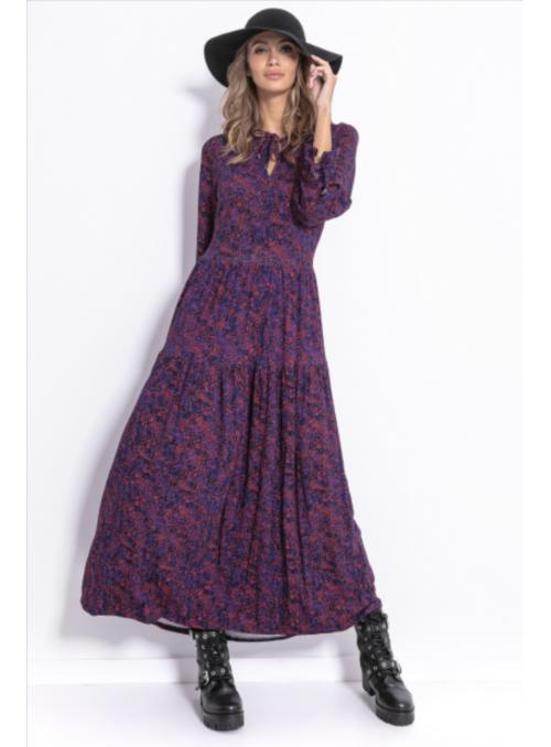 Jarabinka - maxi padavé šaty s dlhým rukávom - S