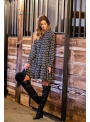 Peacock - padavé mini šaty s dlhým rukávom