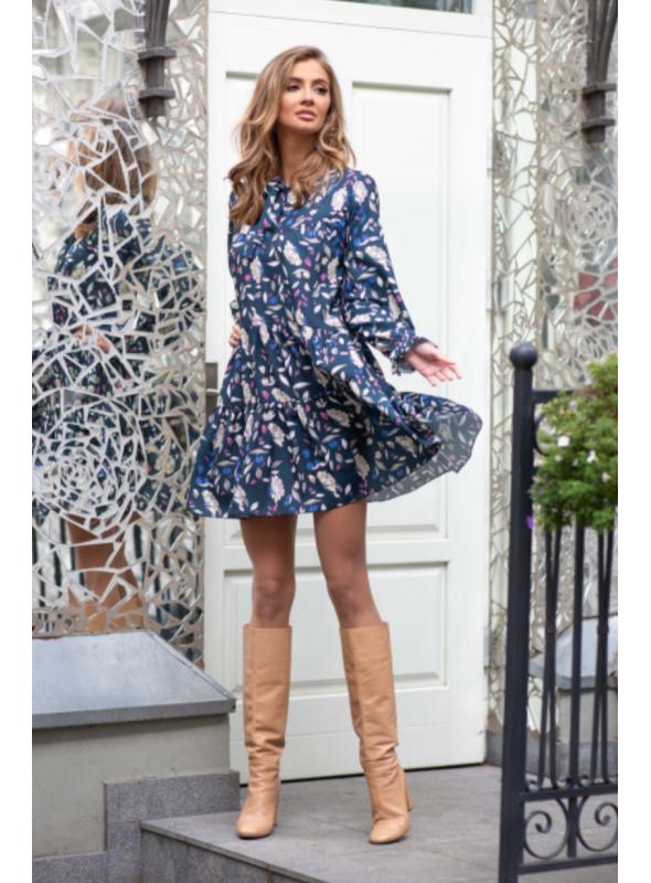 Dandelion - padavé mini šaty s dlhým rukávom - M