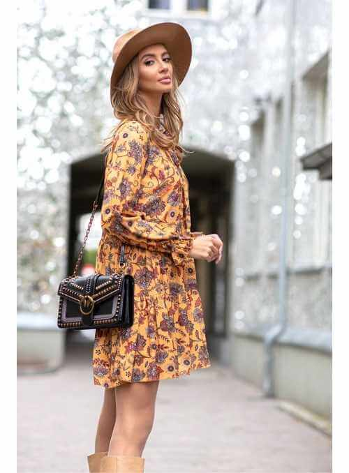Ceylonflower - horčicové padavé mini šaty s dlhým rukávom - M