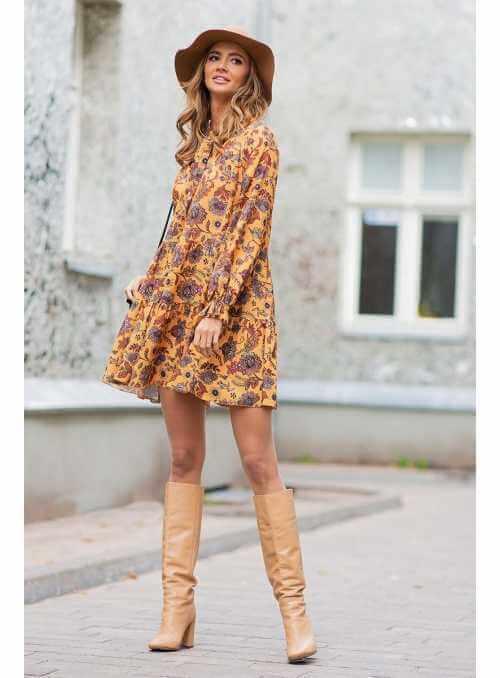 Ceylonflower - horčicové padavé mini šaty s dlhým rukávom