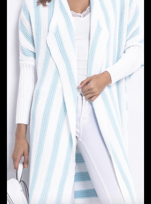 Midi dámsky pásikavý kardigán, bielo-modrý