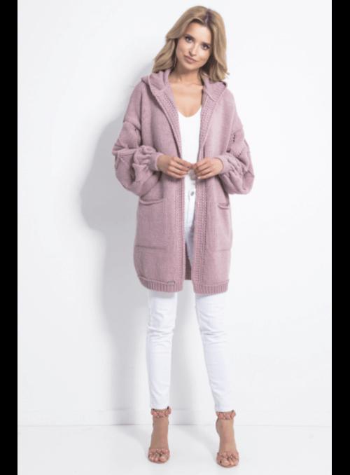 Oversize pudrovo ružový kardigan