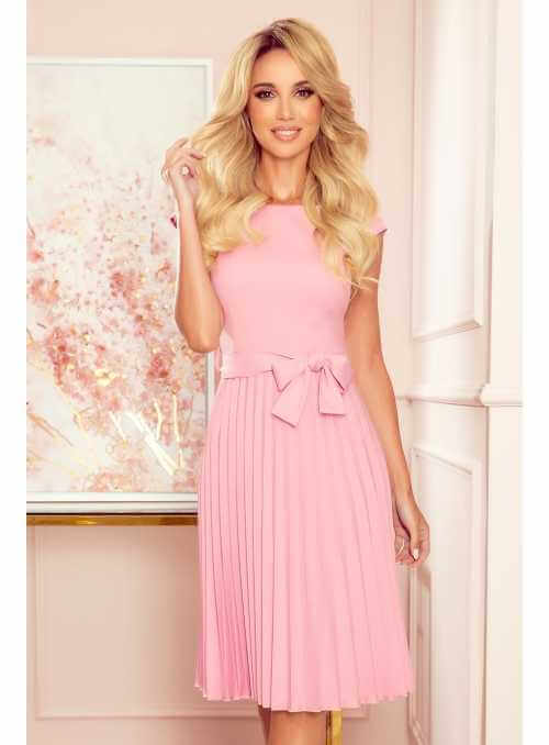 Plisované šaty s opaskom, ružové