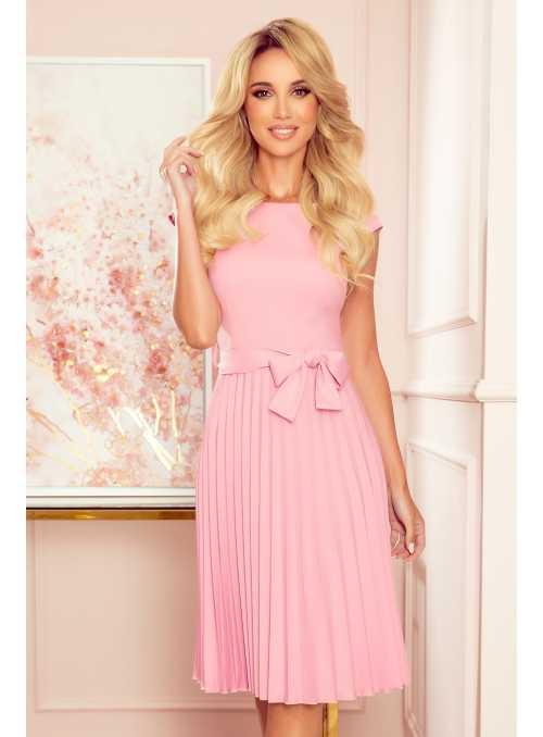 Plisované šaty s opaskem, růžové