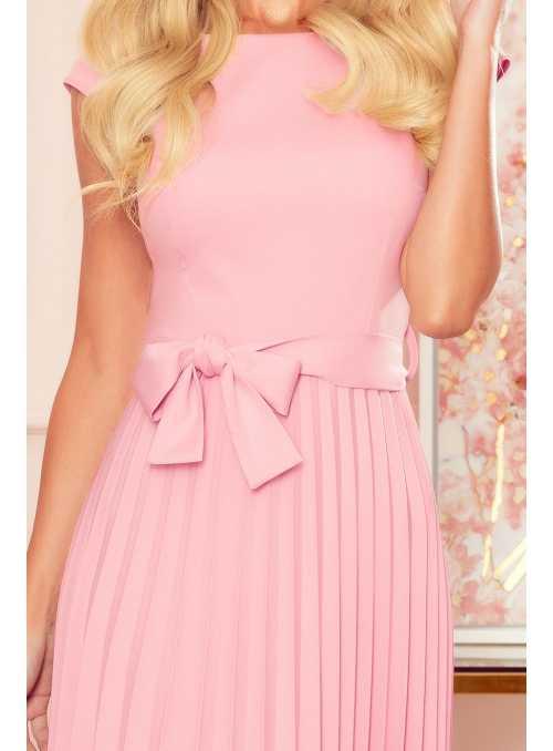 Plisované šaty s opaskom, ružové - XS
