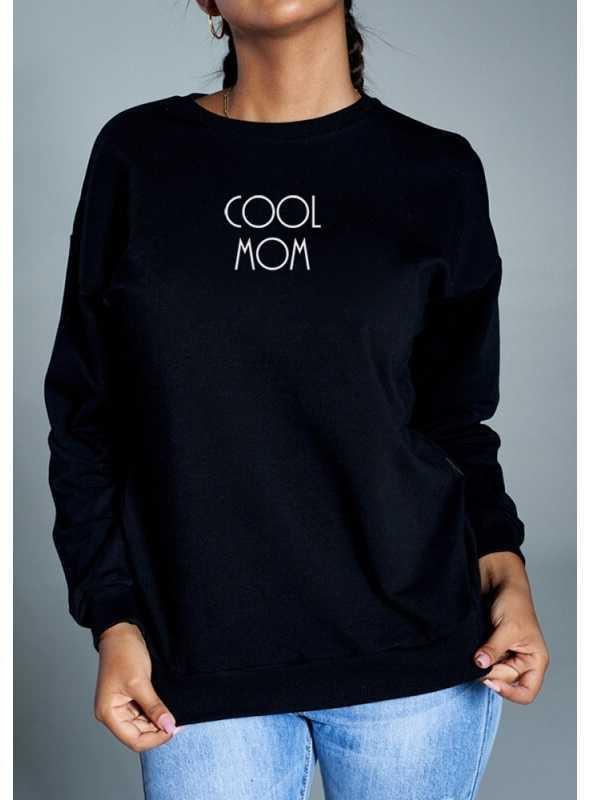 "Dámska mikina ""Cool mom"" čierna - S"