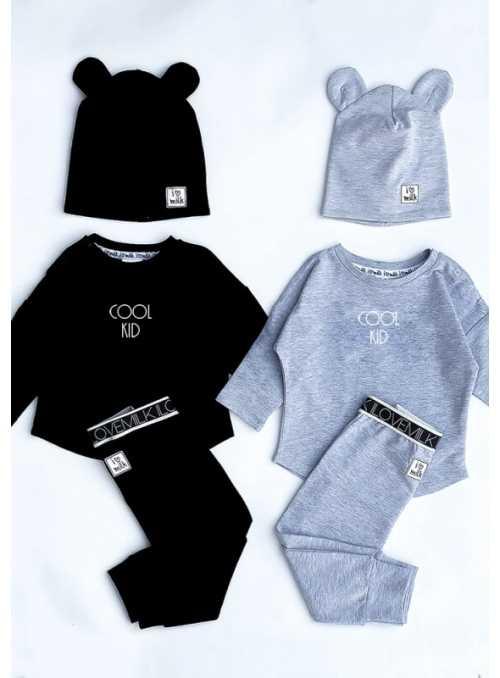 COOL KID – detská mikina, čierna - 3-6 mes