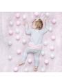 Šedé detské body s ružovou mašľou