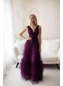 Fialky - Maxi šaty s viazaním