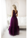Fialky - Maxi šaty s viazaním - S