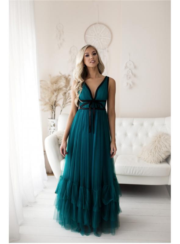 Morská víla - Maxi šaty s viazaním - S