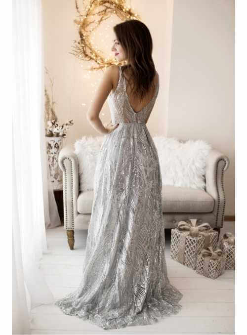 Shine - Maxi šaty s trblietkami - S