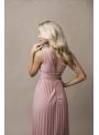 Natalie - maxi šaty s čipkou a plisovaním pudrovoružové