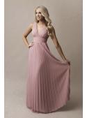 Natalie - maxi šaty s krajkou a plisováním pudrověrůžové