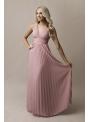 Natalie - maxi šaty s čipkou a plisovaním pudrovoružové - S