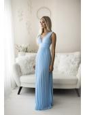 Natalie - maxi šaty s čipkou a plisovaním modré